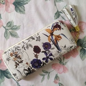 Handbags - Floral Large Checkbook Chequebook Zipper Wallet